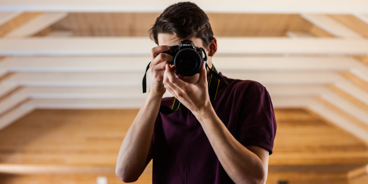Image of a photographer indoors