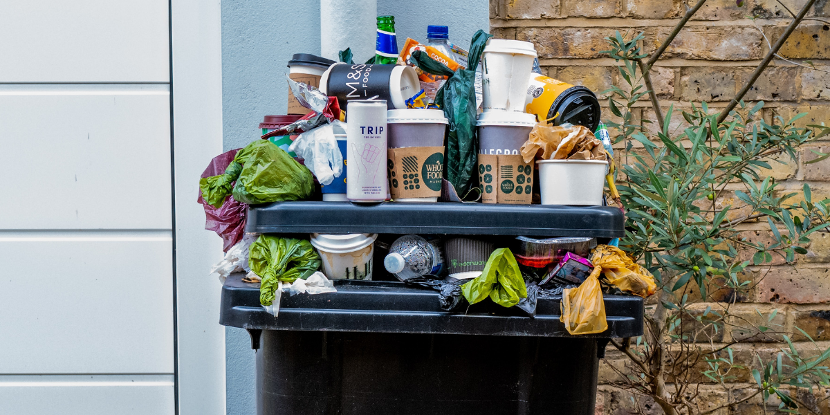 Image of bin overflowing with single-use items